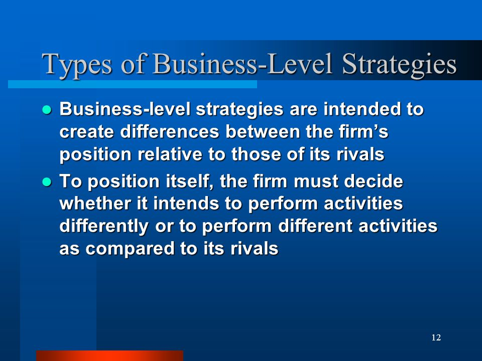 12 Types of Business-Level Strategies Business-level strategies are intended to create differences between the firm's position relative to those of it