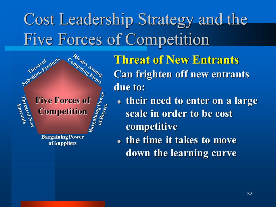 22 Cost Leadership Strategy and the Five Forces of Competition Rivalry Among Competing Firms Bargaining Power of Buyers Bargaining Power of Suppliers