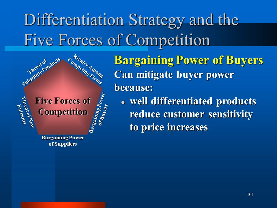 31 Differentiation Strategy and the Five Forces of Competition Bargaining Power of Buyers Can mitigate buyer power because: l well differentiated prod