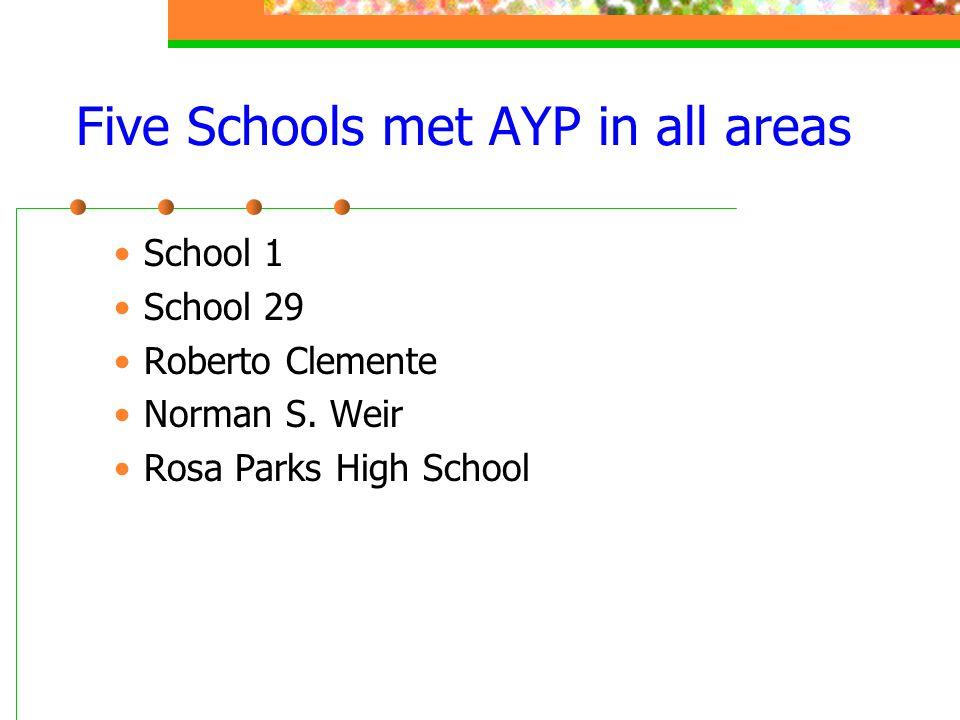 Five Schools met AYP in all areas School 1 School 29 Roberto Clemente Norman S. Weir Rosa Parks High School