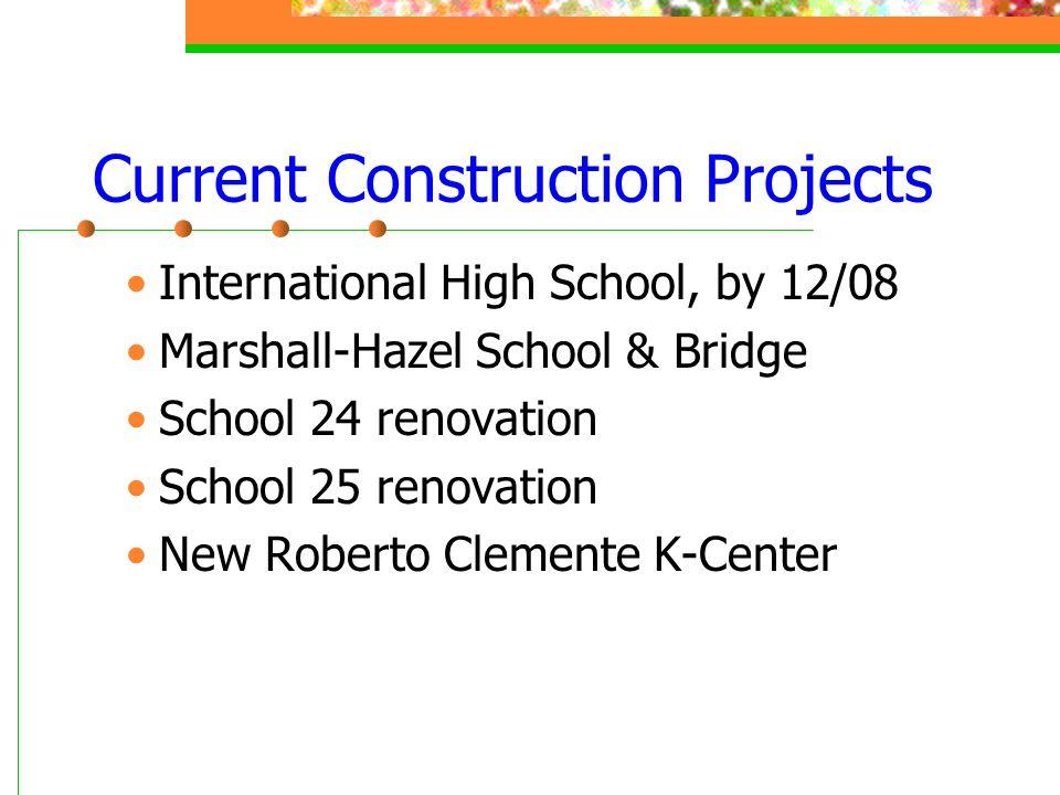 Current Construction Projects International High School, by 12/08 Marshall-Hazel School & Bridge School 24 renovation School 25 renovation New Roberto