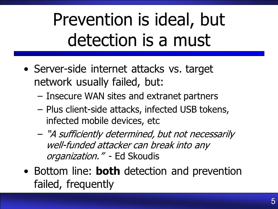5 Prevention is ideal, but detection is a must Server-side internet attacks vs.