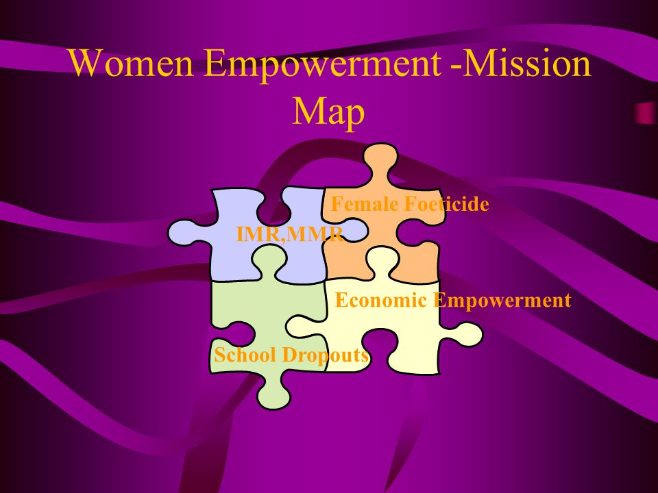 Women Empowerment -Mission Map IMR,MMR Female Foeticide School Dropouts Economic Empowerment