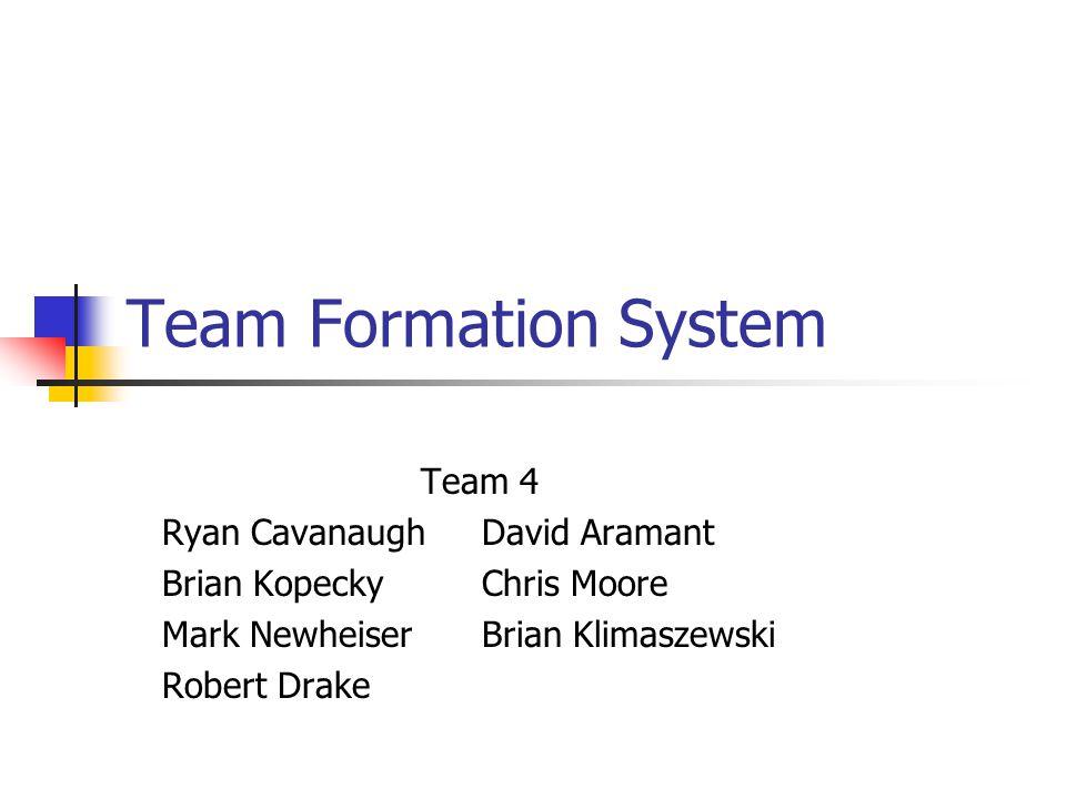 Team Formation System Team 4 Ryan CavanaughDavid Aramant Brian KopeckyChris Moore Mark NewheiserBrian Klimaszewski Robert Drake