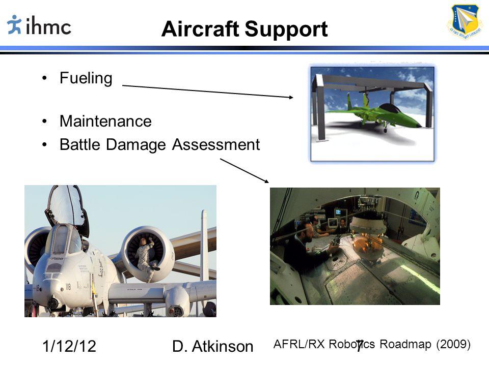 1/12/12D. Atkinson7 Aircraft Support Fueling Maintenance Battle Damage Assessment AFRL/RX Robotics Roadmap (2009)