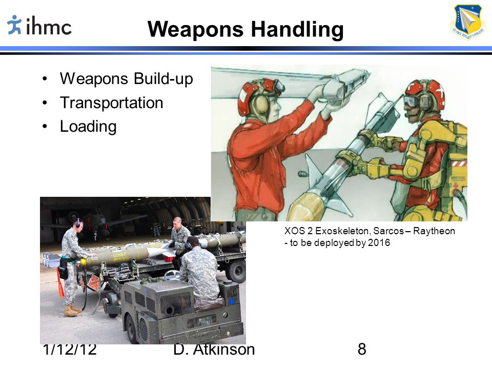 1/12/12D. Atkinson8 Weapons Handling Weapons Build-up Transportation Loading XOS 2 Exoskeleton, Sarcos – Raytheon - to be deployed by 2016