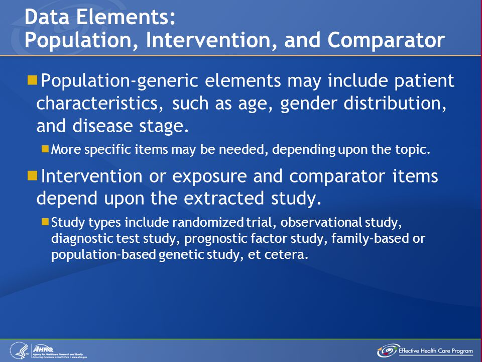  Population-generic elements may include patient characteristics, such as age, gender distribution, and disease stage.