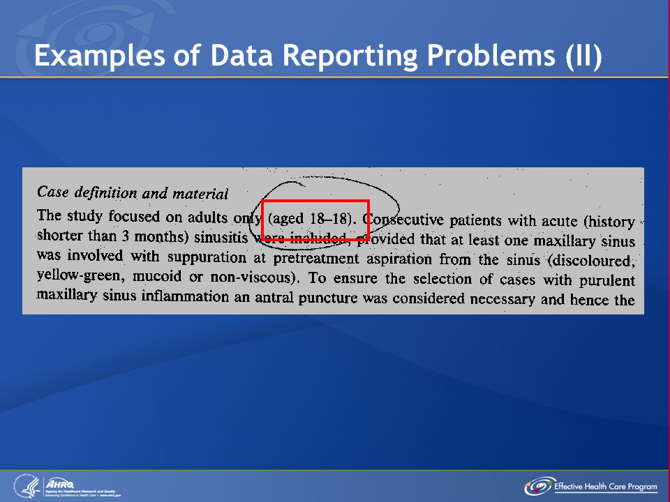 Examples of Data Reporting Problems (II)