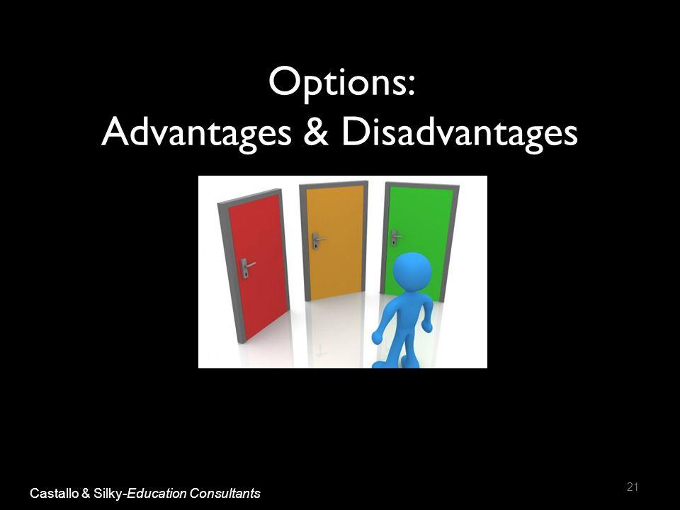 Options: Advantages & Disadvantages 21 Castallo & Silky-Education Consultants
