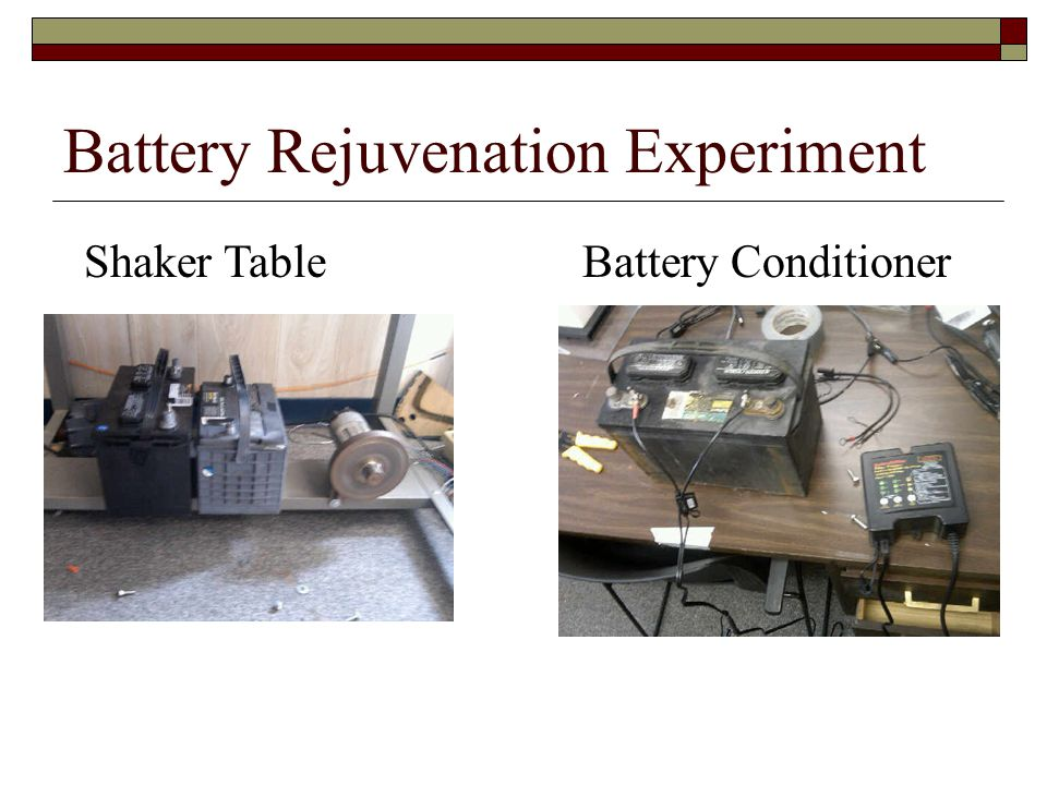 Battery Rejuvenation Experiment Shaker Table Battery Conditioner