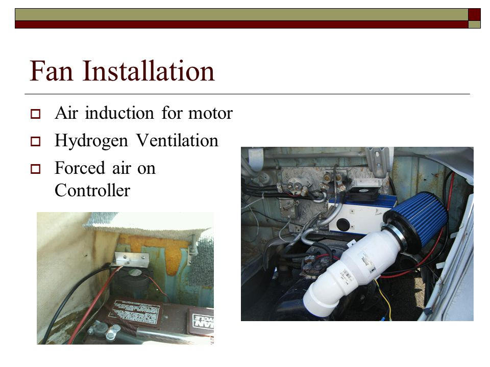 Fan Installation  Air induction for motor  Hydrogen Ventilation  Forced air on Controller