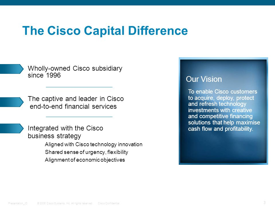 © 2006 Cisco Systems, Inc. All rights reserved.Cisco ConfidentialPresentation_ID 3 Wholly-owned Cisco subsidiary since 1996 The captive and leader in