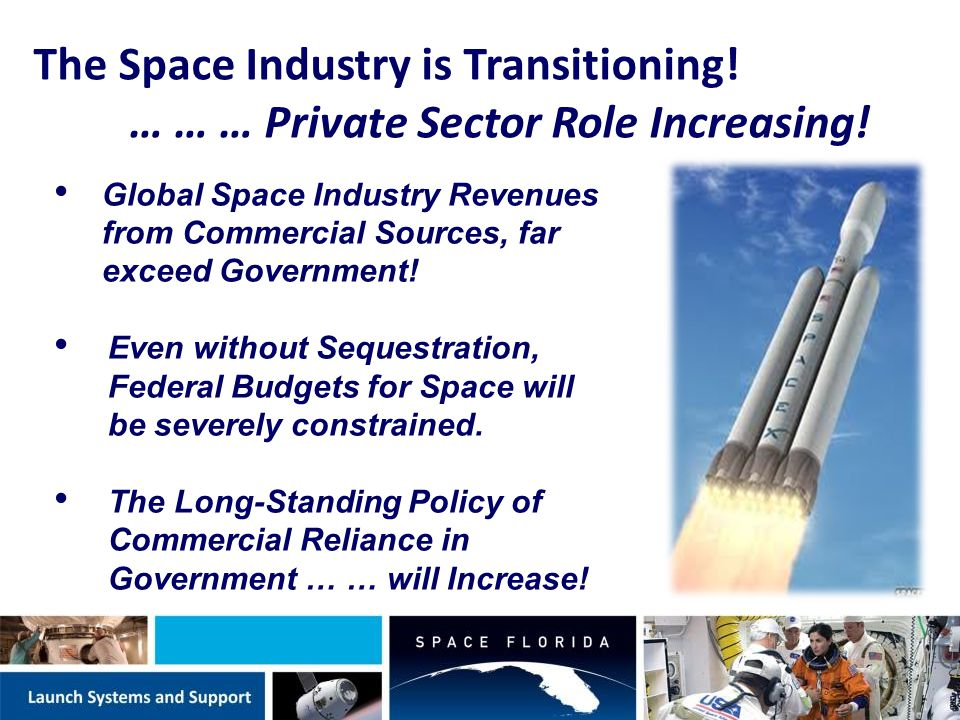 COMMERCIALIZE SHUTTLE LANDING FACILITY NASA's formal decision June 2013 Multiple customers engaged for operations Assessing KSC Future Development Concept studies & designs for common infrastructure improvements, partnership & leverage opportunities Commercialization Roadmap Transfer Decision Agreement development Operations standup SLF improvements
