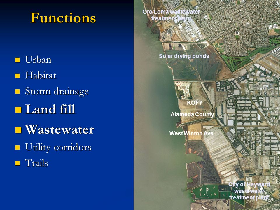 Functions Urban Urban Habitat Habitat Storm drainage Storm drainage Land fill Land fill Wastewater Wastewater Utility corridors Utility corridors Trails Trails Oro Loma wastewater treatment plant Solar drying ponds KOFY Alameda County West Winton Ave City of Hayward wastewater treatment plant
