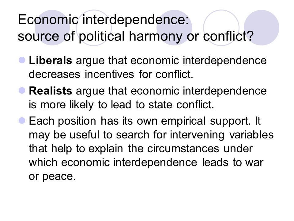 Economic interdependence: source of political harmony or conflict.