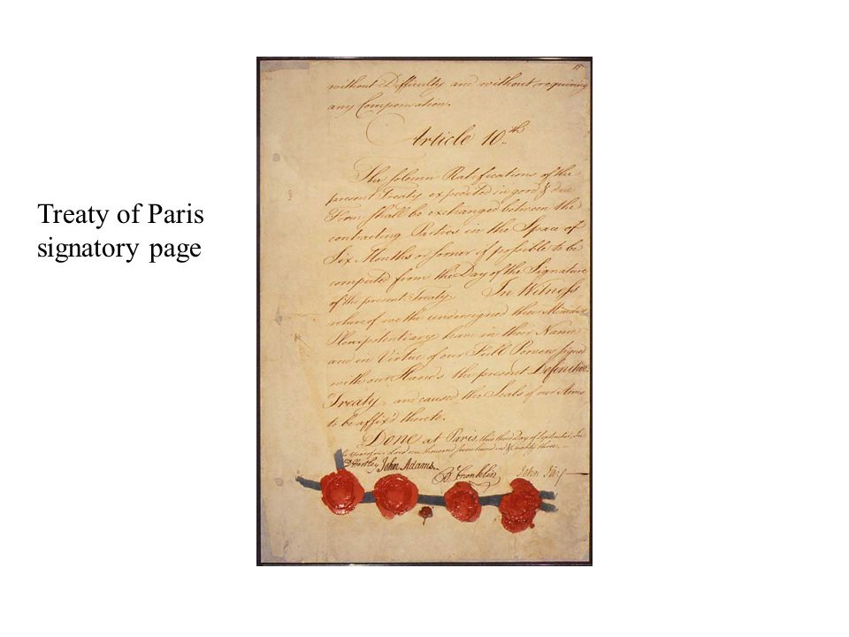 Treaty of Paris signatory page