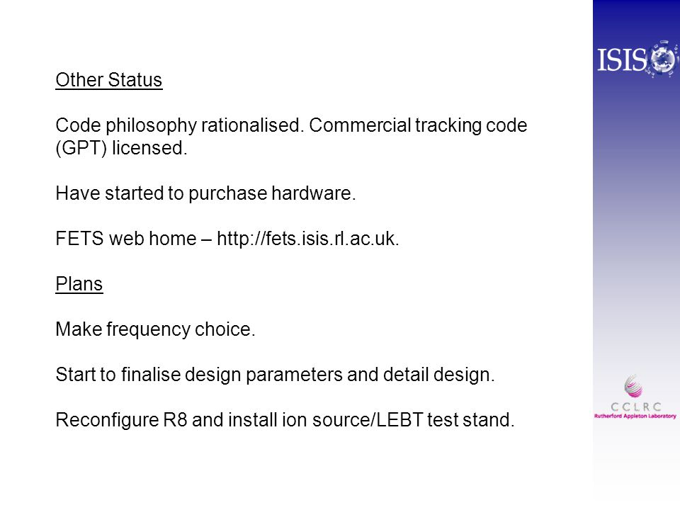 Other Status Code philosophy rationalised. Commercial tracking code (GPT) licensed.