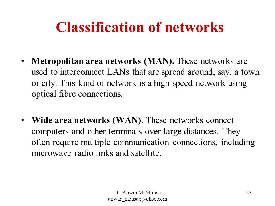 Dr. Anwar M. Mousa anwar_mousa@yahoo.com 23 Classification of networks Metropolitan area networks (MAN). These networks are used to interconnect LANs