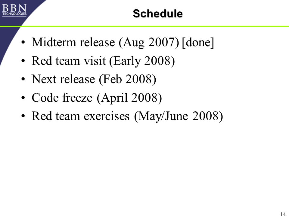 14Schedule Midterm release (Aug 2007) [done] Red team visit (Early 2008) Next release (Feb 2008) Code freeze (April 2008) Red team exercises (May/June 2008)