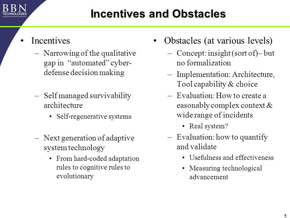 5 Incentives and Obstacles Incentives –Narrowing of the qualitative gap in automated cyber- defense decision making –Self managed survivability architecture Self-regenerative systems –Next generation of adaptive system technology From hard-coded adaptation rules to cognitive rules to evolutionary Obstacles (at various levels) –Concept: insight (sort of)– but no formalization –Implementation: Architecture, Tool capability & choice –Evaluation: How to create a easonably complex context & wide range of incidents Real system.