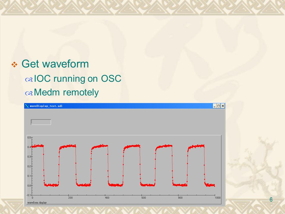 6  Get waveform  IOC running on OSC  Medm remotely