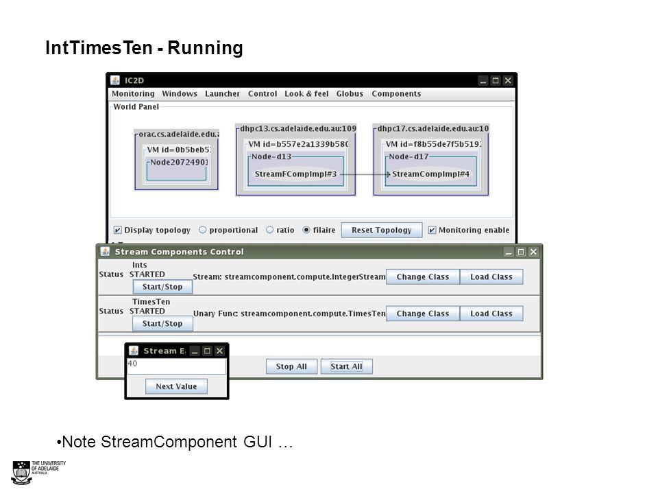 IntTimesTen - Running Note StreamComponent GUI …