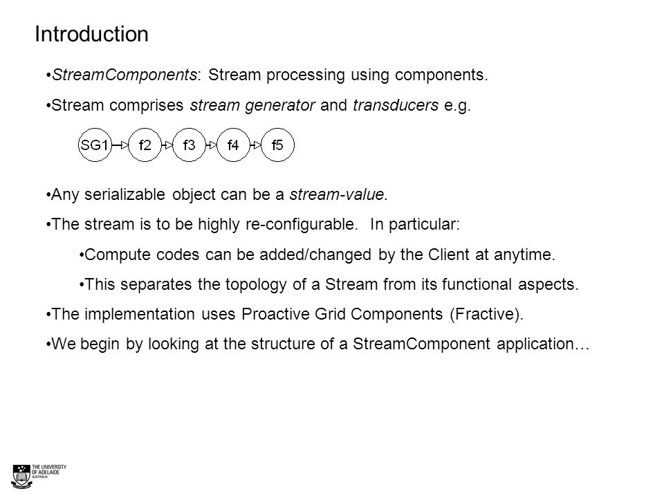 A generic Stream Component Application Shows StreamComponents (SG1, f2..