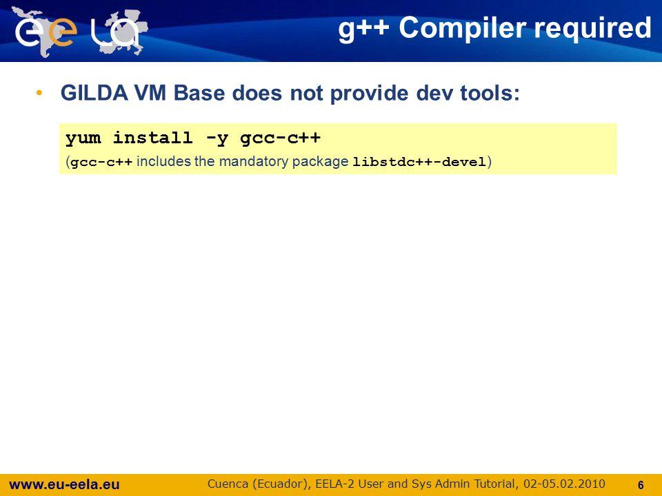 www.eu-eela.eu Cuenca (Ecuador), EELA-2 User and Sys Admin Tutorial, 02-05.02.2010 17 Configuring the UI for EELA-2 Using the Latin American services: BDII_HOST=bdii.eela.ufrj.br WMS_HOST=wms.eela.ufrj.br LB_HOST= lb2.eela.ufrj.br:9000 PX_HOST=px.eela.ufrj.br LFC_HOST=lfc.eela.ufrj.br DPM_HOST= (*) JAVA_LOCATION=/usr/java/j2re-1.4.2_16 # please verify (*) lcg-infosites --vo prod.vo.eu-eela.eu se The site-info.def for LA Users can be downloaded from: http://eoc.eu-eela.eu/files/EELA-2VOs.tgz http://eoc.eu-eela.eu/files/EELA-2VOs.tgz The site-info.def for LA Users can be downloaded from: http://eoc.eu-eela.eu/files/EELA-2VOs.tgz http://eoc.eu-eela.eu/files/EELA-2VOs.tgz