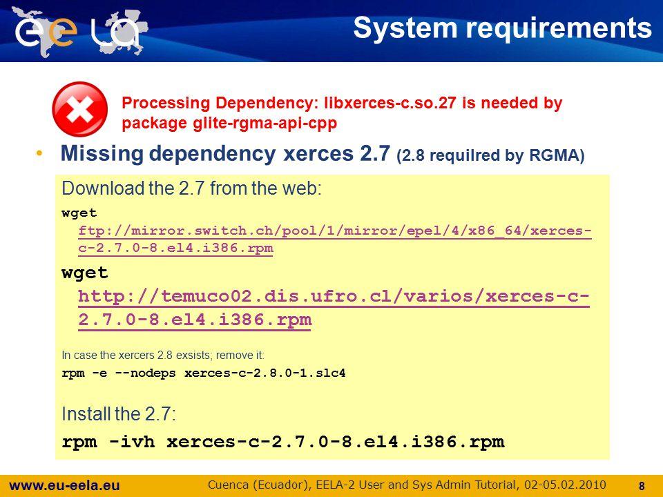 www.eu-eela.eu Cuenca (Ecuador), EELA-2 User and Sys Admin Tutorial, 02-05.02.2010 9 Got an error.