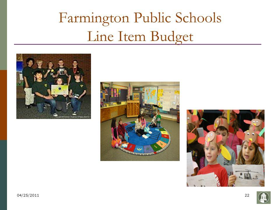 04/25/201122 Farmington Public Schools Line Item Budget