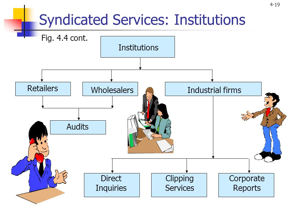 4-19 Syndicated Services: Institutions Audits Direct Inquiries Clipping Services Corporate Reports Fig.