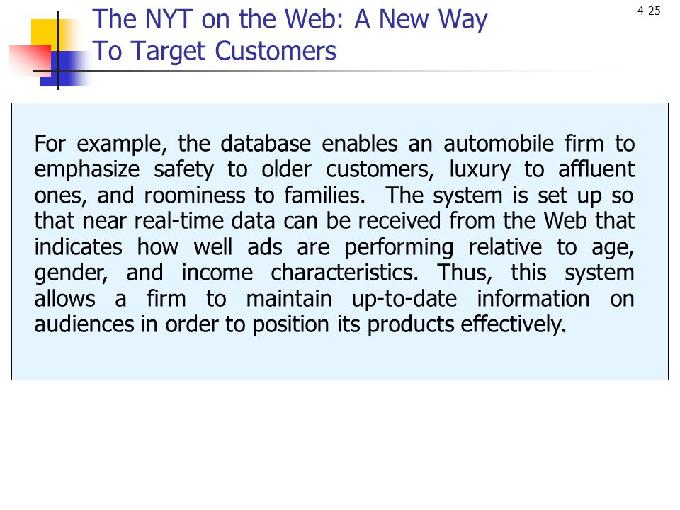 4-25. For example, the database enables an automobile firm to emphasize safety to older customers, luxury to affluent ones, and roominess to families.
