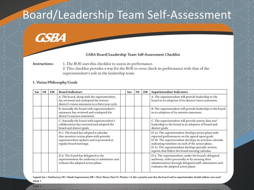 Board/Leadership Team Self-Assessment