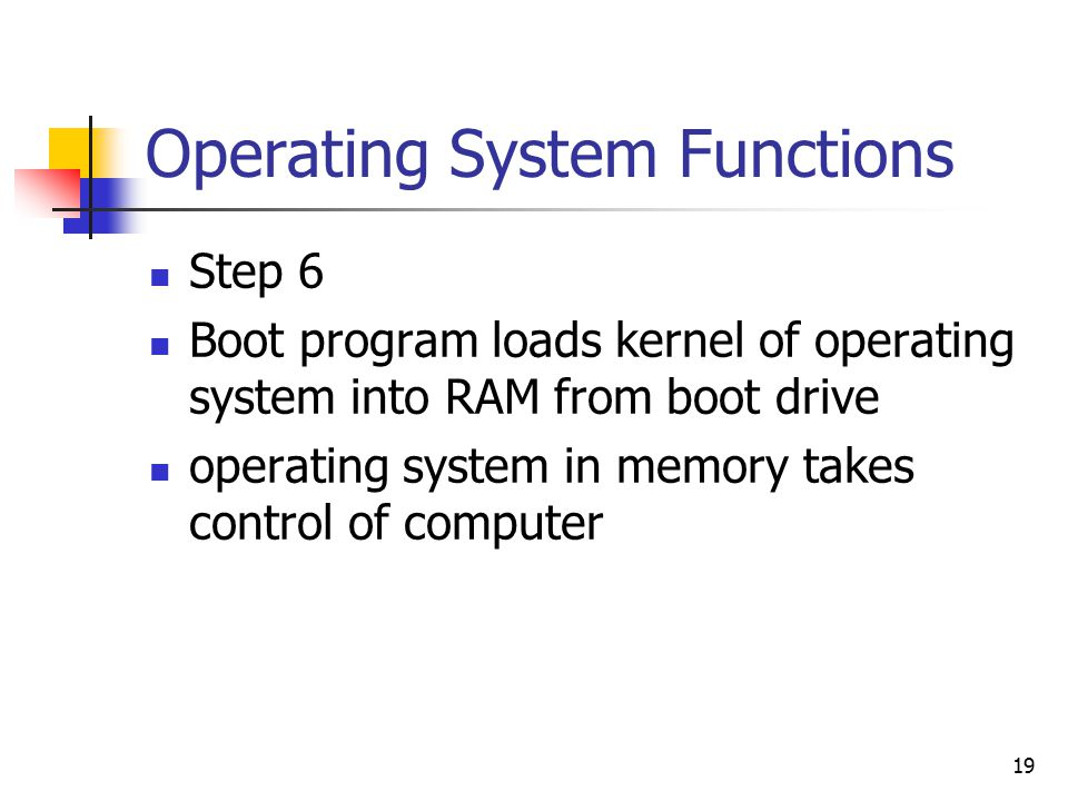 19 Operating System Functions Step 6 Boot program loads kernel of operating system into RAM from boot drive operating system in memory takes control of computer