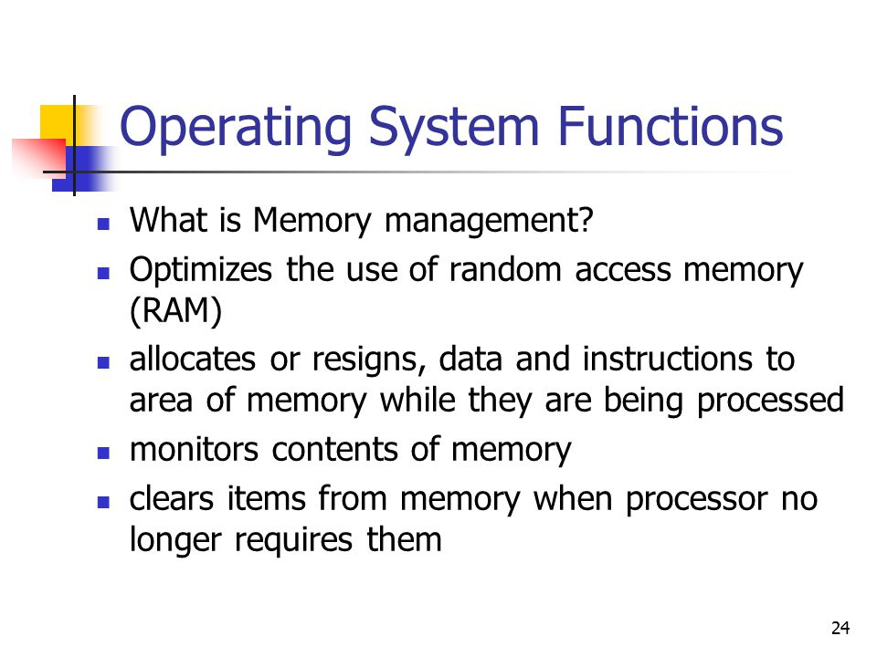24 Operating System Functions What is Memory management.