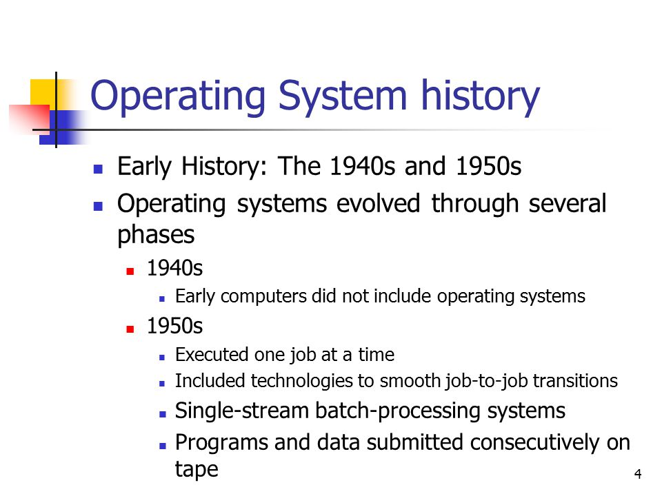 4 Operating System history Early History: The 1940s and 1950s Operating systems evolved through several phases 1940s Early computers did not include operating systems 1950s Executed one job at a time Included technologies to smooth job-to-job transitions Single-stream batch-processing systems Programs and data submitted consecutively on tape