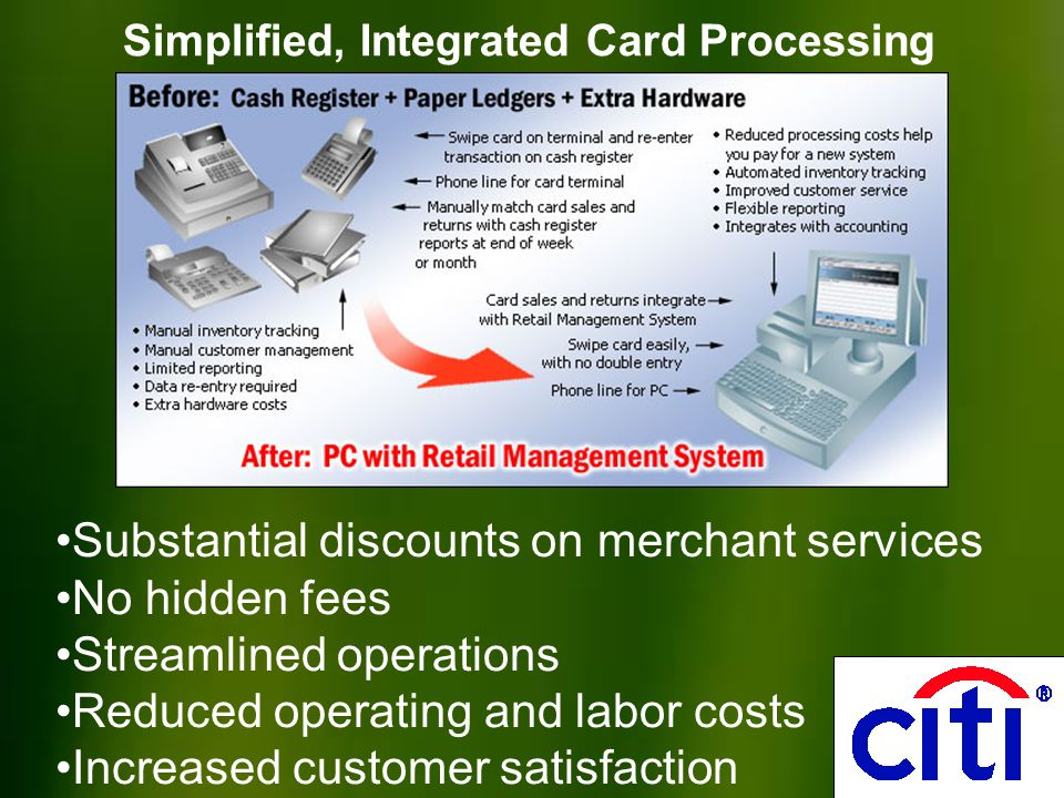 Simplified, Integrated Card Processing Substantial discounts on merchant services No hidden fees Streamlined operations Reduced operating and labor costs Increased customer satisfaction