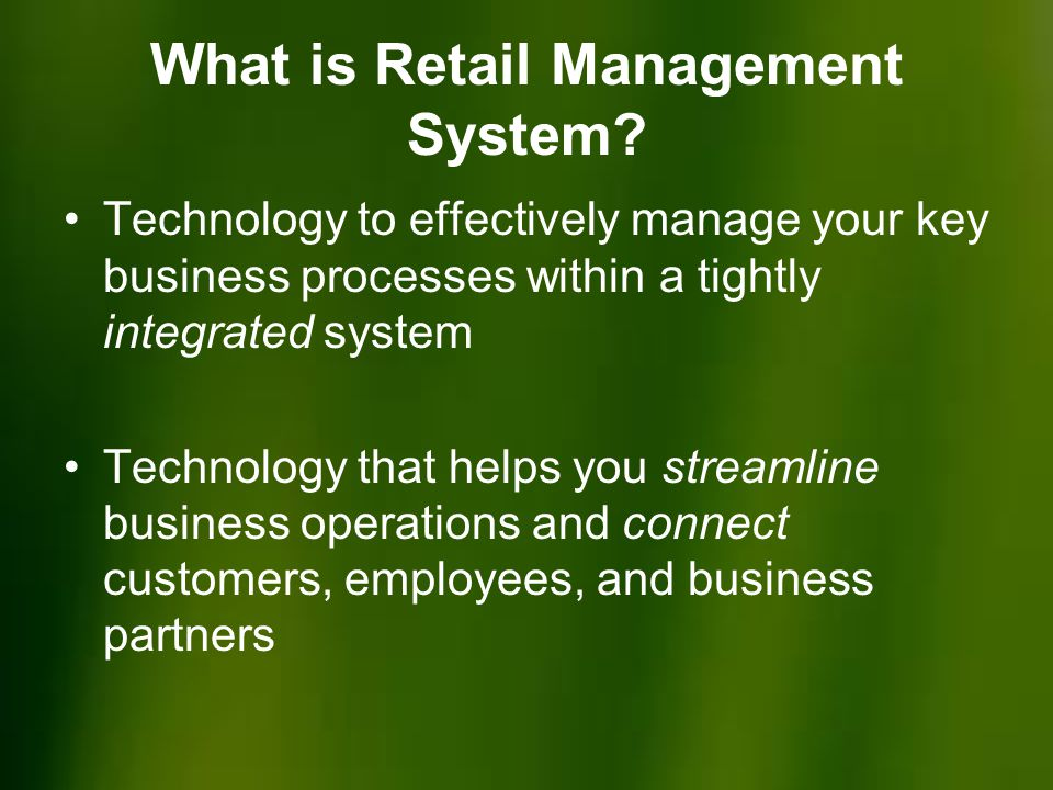 What is Retail Management System.