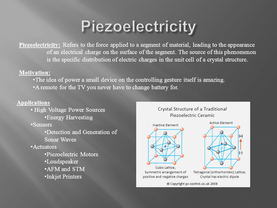 Piezoelectricity: Refers to the force applied to a segment of material, leading to the appearance of an electrical charge on the surface of the segment.