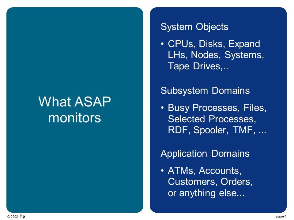 © 2002 page 4 What ASAP monitors System Objects CPUs, Disks, Expand LHs, Nodes, Systems, Tape Drives,..