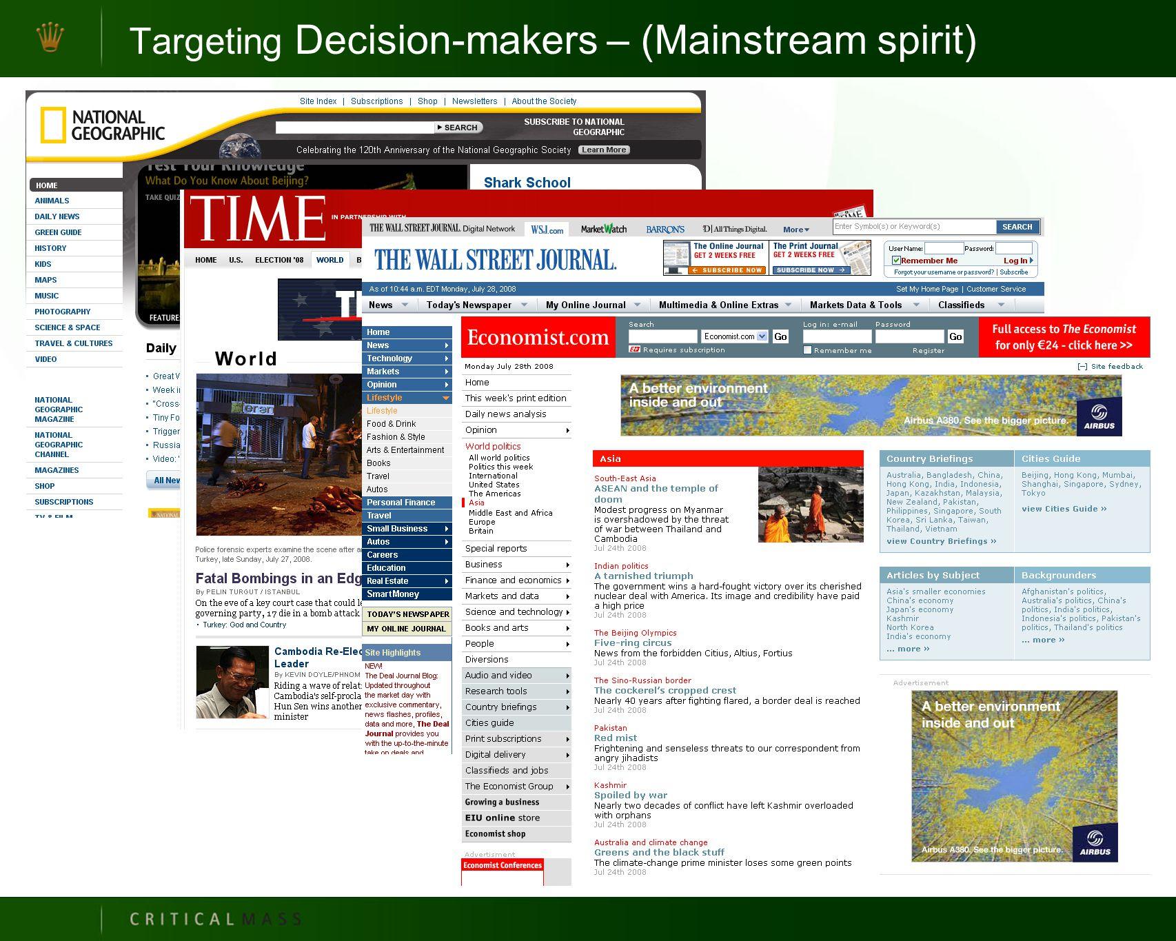 Targeting Decision-makers – (Mainstream spirit)