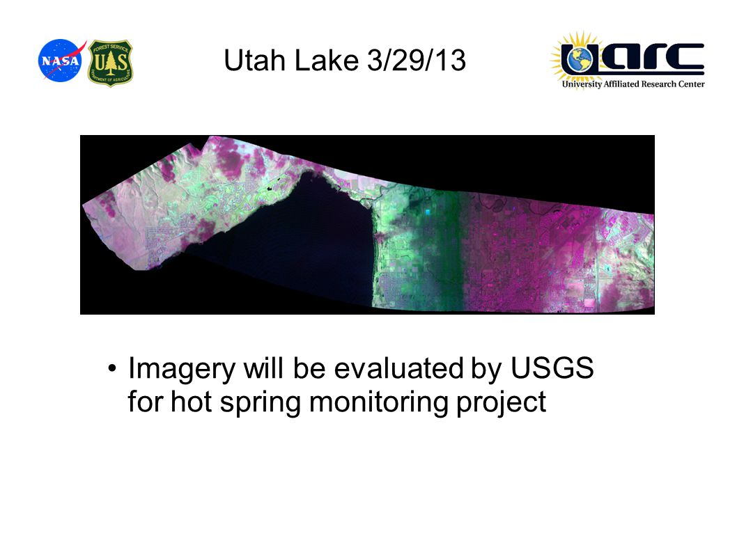 Utah Lake 3/29/13 Imagery will be evaluated by USGS for hot spring monitoring project