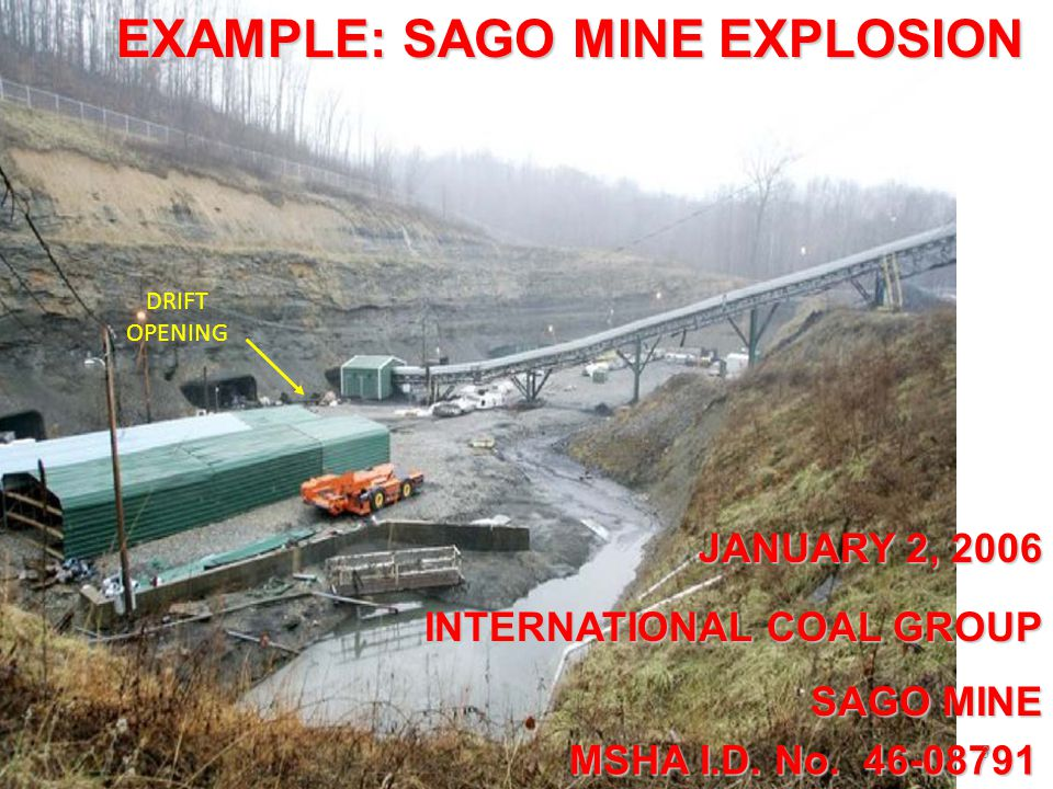 EXAMPLE: SAGO MINE EXPLOSION JANUARY 2, 2006 MSHA I.D.
