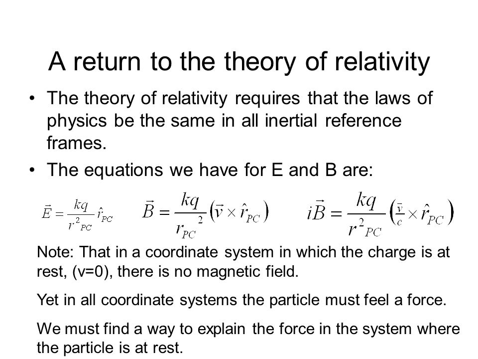A return to the theory of relativity The theory of relativity requires that the laws of physics be the same in all inertial reference frames. The equa