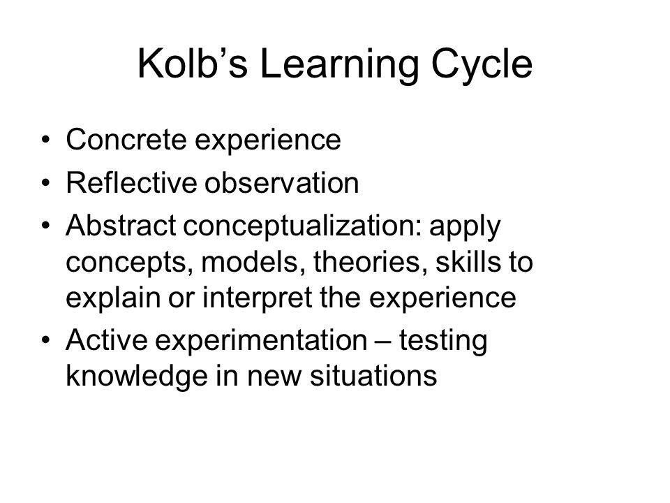 Kolb's Learning Cycle Concrete experience Reflective observation Abstract conceptualization: apply concepts, models, theories, skills to explain or in