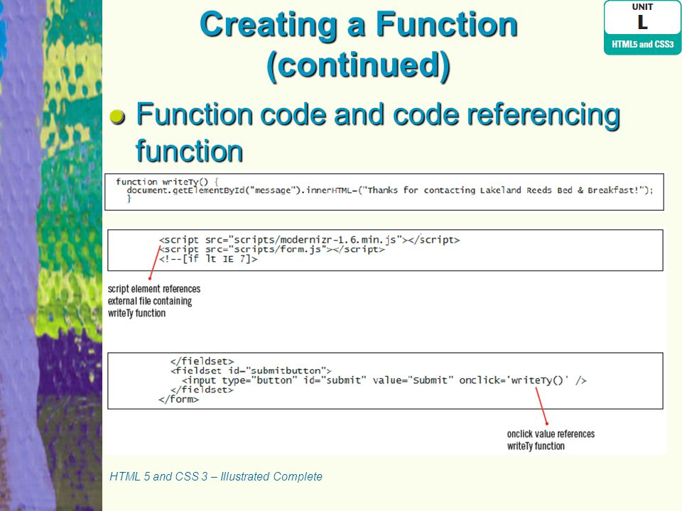 Creating a Function (continued) Function code and code referencing function HTML 5 and CSS 3 – Illustrated Complete