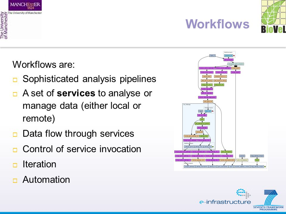 Workflows are:  Sophisticated analysis pipelines  A set of services to analyse or manage data (either local or remote)  Data flow through services  Control of service invocation  Iteration  Automation