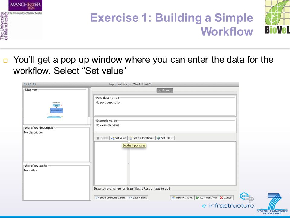  You'll get a pop up window where you can enter the data for the workflow. Select Set value