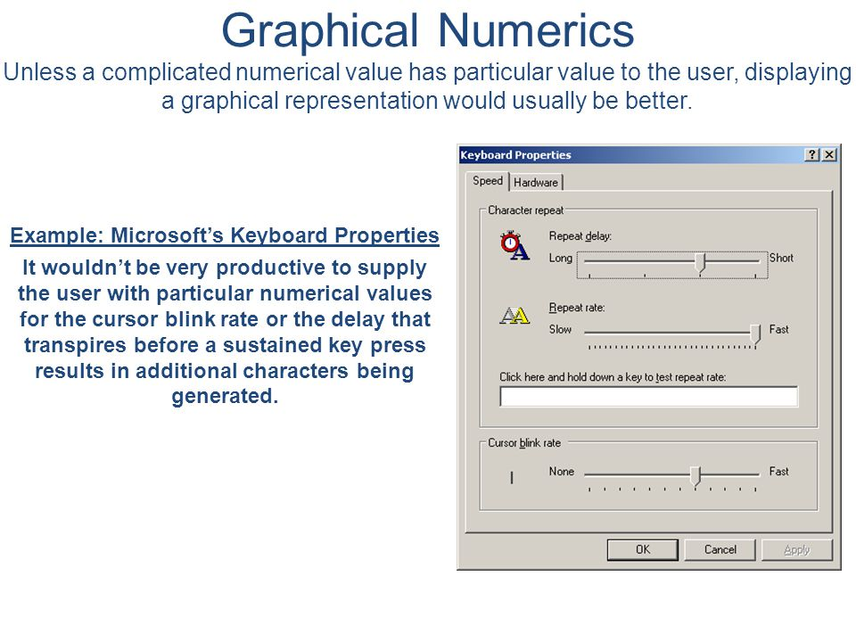 Graphical Numerics Unless a complicated numerical value has particular value to the user, displaying a graphical representation would usually be better.