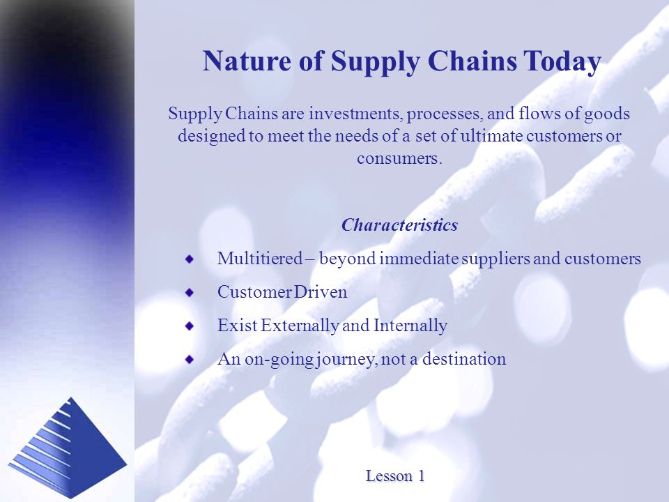 Presented by www.SourceOneInc.com Nature of Supply Chains Today Supply Chains are investments, processes, and flows of goods designed to meet the needs of a set of ultimate customers or consumers.